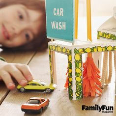 Workin' at the Car Wash: Get toy cars pretend-clean as they drive through this carton corridor. The simple design invites creative customization.