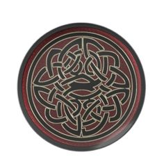 Dark Red and Black Metallic Celtic Knot Decorative Plate from Home Collection