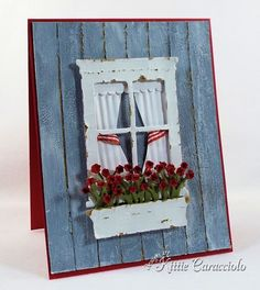 TUTORIAL - How to make paper look like this WEATHERED WOOD.... window card by Kittie Caracciolo