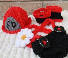 Fireman Crochet Photo Prop Set by YouHadMeInStitchesCa on Etsy, $60.00