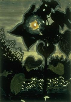 Moon through Young Sunflowers / Charles E. Burchfield / 1916
