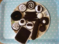 17 Hand Knitted chocolate Cakes & biscuits  childs play food