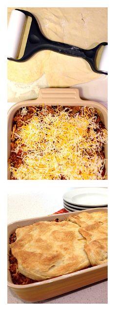 EASY chili potpie. ReluctantEntertainer.com