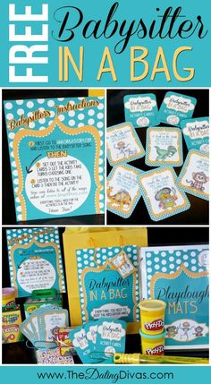 I LOVE this!  It has a FREE download with everything you need to keep the kids entertained.  Including activity cards, coloring pages, and playdough mats!  #babysitterbag #free #forkids