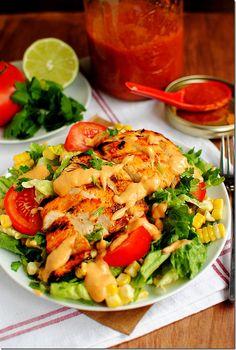 Chipotle-mango BBQ grilled chicken salad