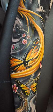 impressive mad skillz monarch butterfly, tattoo ideas, butterfli, sleeve tattoos, tattoo patterns, tattoo sleeves, tattoo ink, butterfly tattoos, bright colors
