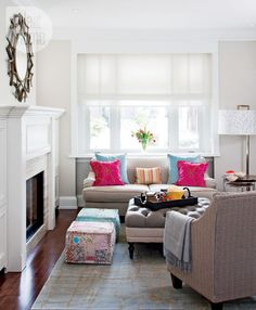 Classic living room, colourful pillows, timelss