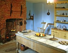 The 18th Century kitchen of Gilbert White's house in Selbourne, Hampshire by Anguskirk, via Flickr centuri kitchen, white houses, butcher blocks, 18th centuri, coloni kitchen, 18th century kitchen, coloni hearth, american heritage, coloni housewif
