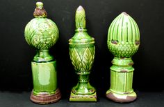 Ceramic Finials in Green