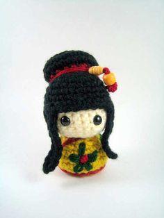 Mei Mei Kokeshi Doll amigurumi crochet pattern by Susan Morishita