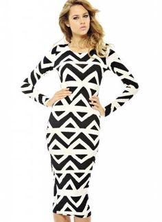 printed midi dress #fallfashion #blackandwhite #printeddress