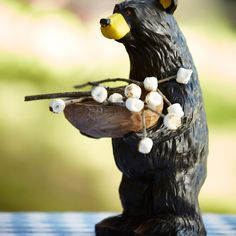 Oh hello there bear. Add tiny marshmallows to twigs for a taste of the great outdoors. #smmmmores #outdoors #bears