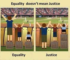 """Ever hear the words, """"that's not fair!""""? Then this may help you. This graphic helps to illustrate the difference between equal (fair) and justice for all. Consider using this to help kids see and learn to understand why differentiated instruction is fair and helpful for everyone."""