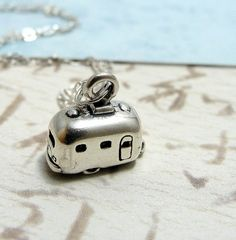 Tiny Camper RV Necklace, Sterling Silver Campter Charm on a Silver Cable Chain