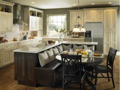 Kitchen island with bench