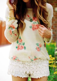 . rose, flower prints, blous, summer outfits, white lace, spring outfits, lace shorts, shirt, floral top