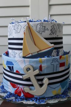 Sailboat Anchor Nautical Flannel Blanket Baby Boy Diaper Cake by ButtermilkCustom on Etsy, $52.00
