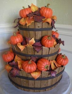 OMG, this is a completely edible cake. The pumpkins are rice crispie treats covered in fondant. Everything else was made form sugar | The Autumn Baskets Cake | Love and Confection, Powdersville SC