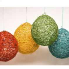 Simple. Take a blown up balloon, yarn, and watered down glue..dip the yarn in glue and wrap balloon. After it dries, pop balloon and your left with this awesome shell....using these in my kids room for sure!!