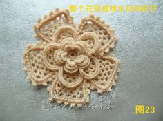 Irish crochet rose. Diagram and picture tutorial. Japanese text.