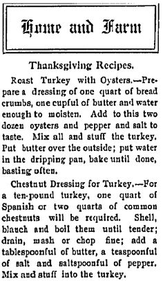 """Thanksgiving recipes published in the Northern Christian Advocate newspaper (Syracuse, New York), 14 November 1907. Read more on the GenealogyBank blog: """"Old Fashioned Thanksgiving Recipes in the Newspaper."""" http://blog.genealogybank.com/old-fashioned-thanksgiving-recipes-in-the-newspaper.html"""