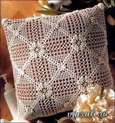 Filethäkeln Kissen - filet crochet pillow