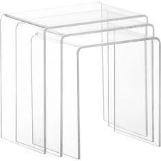 peekaboo clear nesting tables set of three in bedroom furniture | CB2