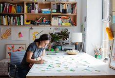 Artist Jen Wink busy at work in her home studio. http://jenwinkstudio.com/