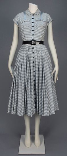 LOT 737 GALANOS STRIPED SUMMER DAY DRESS, 1951-1955.
