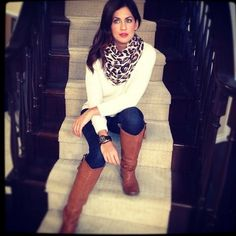 leopard. cream sweater.  red lips. tan boots. Jillian has awesome style!