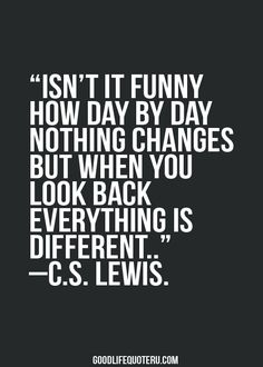 Isn't it funny how day by day nothing changes but when you look back everything is different.