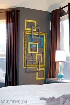 wall art, empty frames, old frames, frame art, picture frames, frame collages, bedroom, accent wall, frame walls