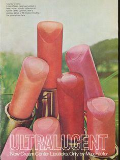 1970 Vintage Max Factor New Cream Center Lipsticks ad.