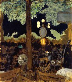 """ Edouard Vuillard - Café in the Bois de Boulogne at Night - The Garden of the Alcazar Post-impressionism """