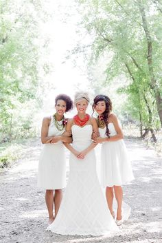 bridesmaids in short white dresses, photo by Brooke Michaelson http://ruffledblog.com/out-of-africa-inspiration-shoot #bridesmaiddresses