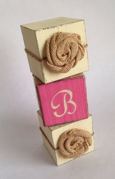 Girl Nursery Decor, Pink and Cream Personalized Block Set with Monogram and Burlap Flowers, Rustic, or Country Chic New Baby Girl Gift on Etsy, $39.00