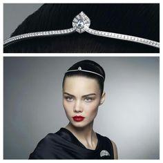 Small modern diamond tiara by Cartier. http://cartier.watchprosite.com/show-forumpost/fi-886/pi-5959548/ti-874393/t-cartier-cartier-conundrum-1-watch-tiara-and-brooch/