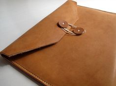 Hand-Stitched camel leather document envelope- love!