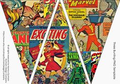 Comic Superhero PICTURE Bunting INSTANT by DunhamDesignCompany, $10.00