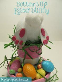 easter crafts, bunni diy, diy idea, holiday crafts, easter centerpiece
