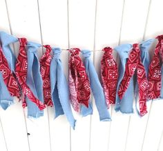 Faded Denim Red Bandana Garland Fabric Banner Rag Tie bunting streamers torn fabric Wedding backdrop photo prop #country rustic barn wedding