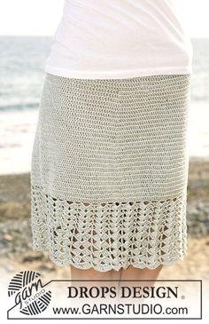 "Crochet DROPS skirt with wide fan patterned border in ""Cotton Viscose"". Size S – XXXL. ~ DROPS Design"