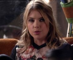"Hanna's Ted Baker Printed Blouse With Contrast Sleeves Pretty Little Liars Season 4, Episode 18: ""Hot For Teacher"" - Spotted on TV"