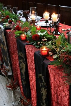 Christmas table Idea table decorations, christmas dinners, table settings, idea, dinner parties, mariage medieval, candl, head tables, medieval wedding