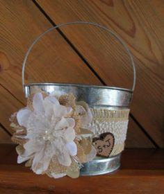 Personalized Flower Girl Bucket - Burlap and Lace Wedding Basket - Rustic Flower Girl Basket - Wedding Basket on Etsy, $22.00