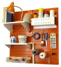 Pegboard Craft Organizer by Wall Control. Orange pegboard with white tool board accessories. (PN: 30-CC-200 ORW)