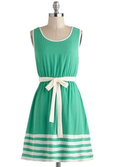 Toot Your Own Greenhorn Dress - Mid-length, Green, White, Belted, Casual, A-line, Tank top (2 thick straps), Daytime Party, Stripes, Spring, Summer