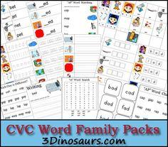 CVC Work Family Packs: -ed, -en & -et