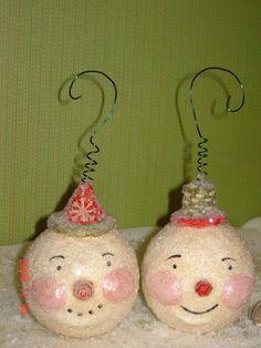 Paper Mache Snowman Ornament