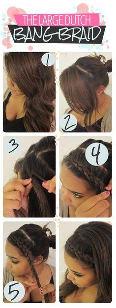 How to do a Simple Large Dutch Bang Braid hair tutorial